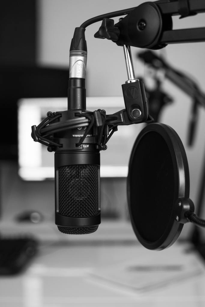 Image of a podcast microphone